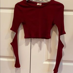 Red Cropped Open Elbow Long Sleeve. Size M.